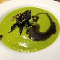Pea Soup with Fried Ramps and Pumpkin Seed Oil
