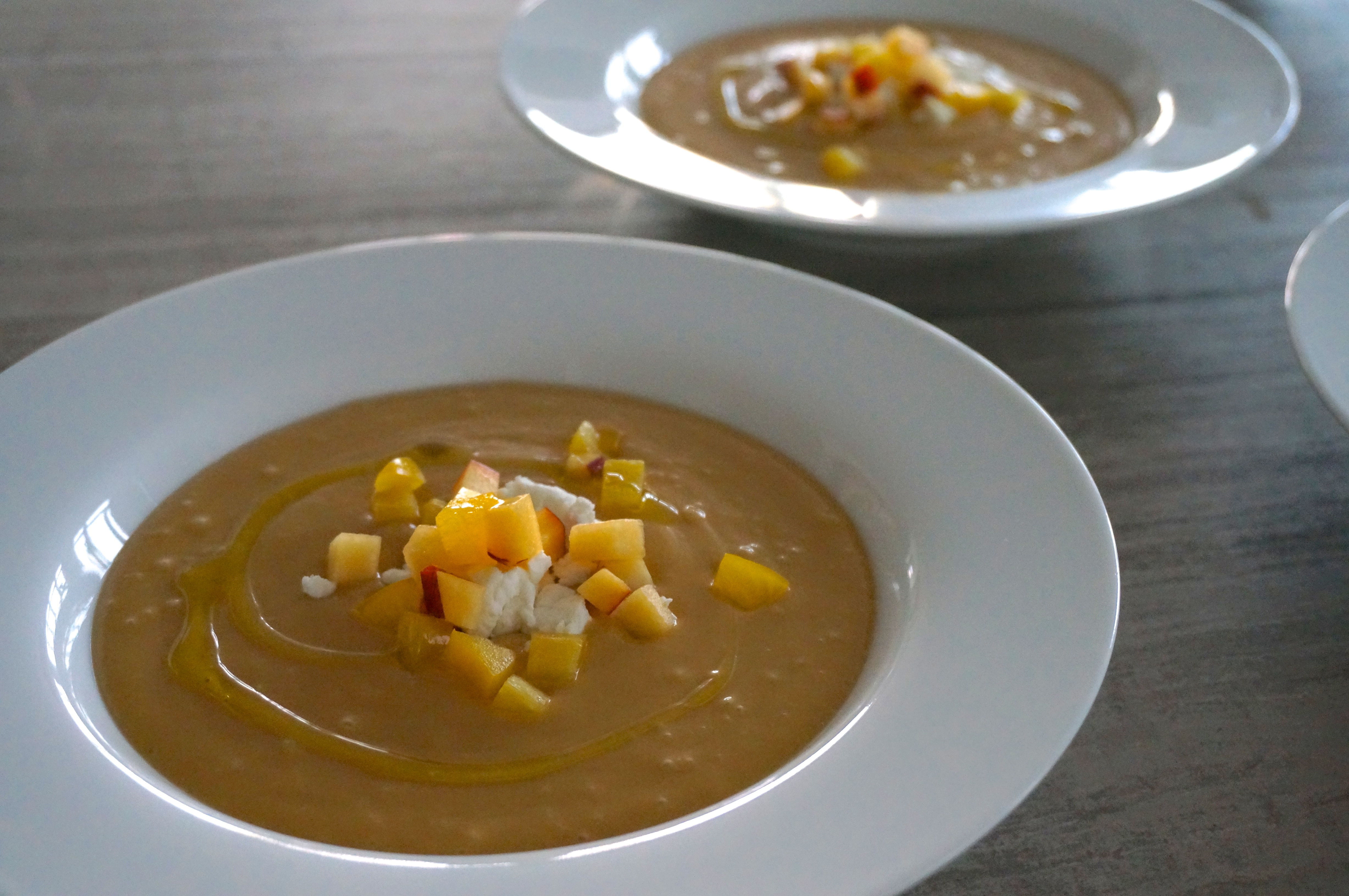 Chilled Peach Soup with Fresh Goat Cheese – Better with Lemon